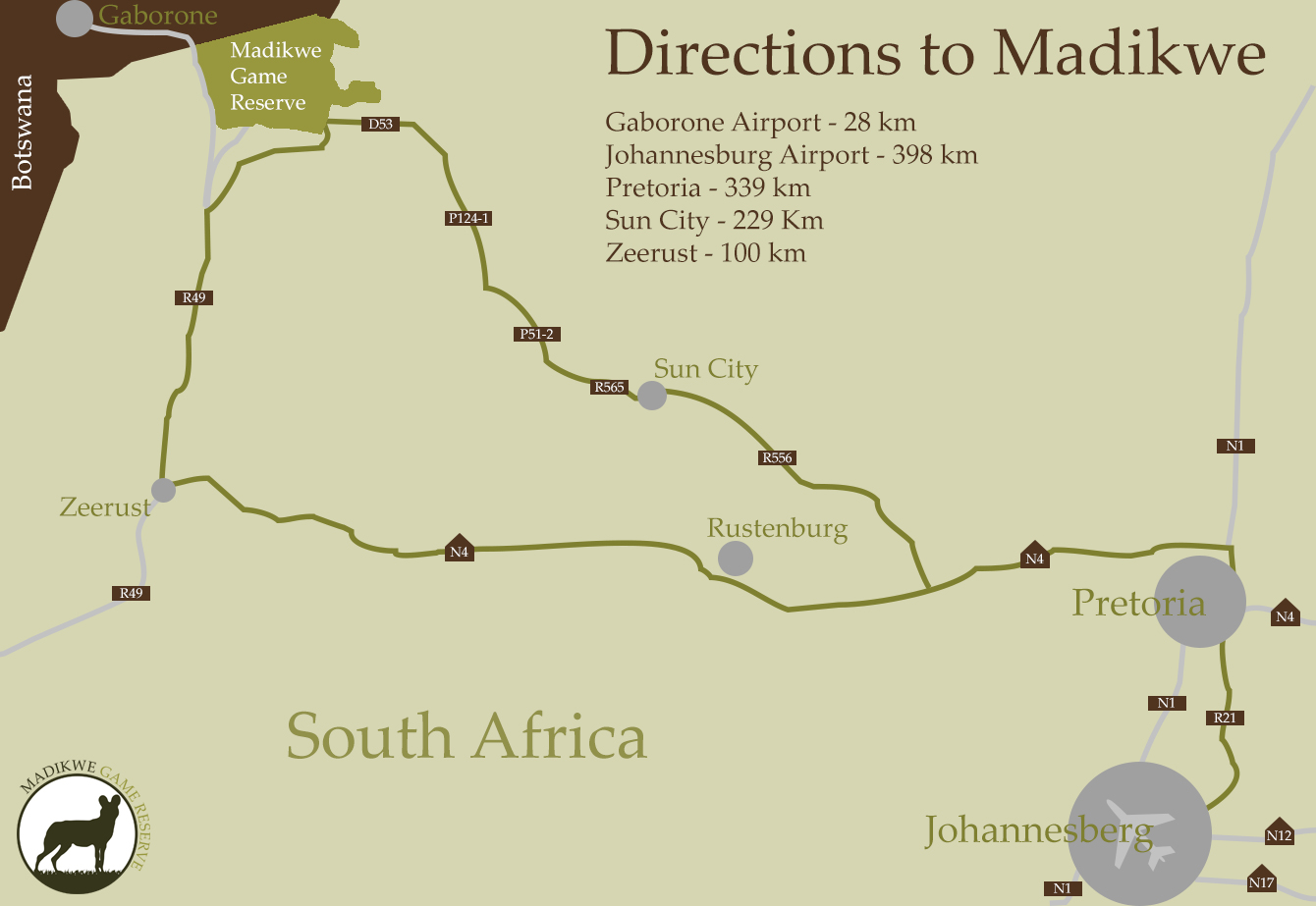Madikwe Map Directions
